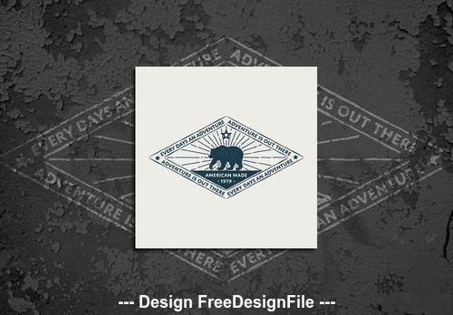 Vintage typography bear logo vector