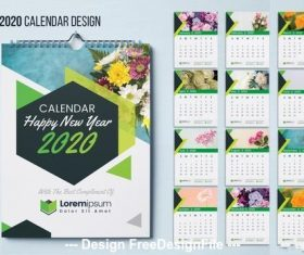 Wall calendar green geometric elements vector