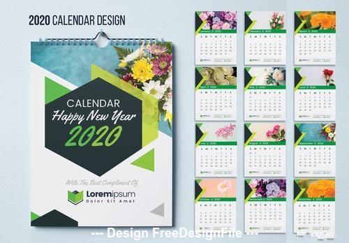 Wall calendar green geometric elements vector