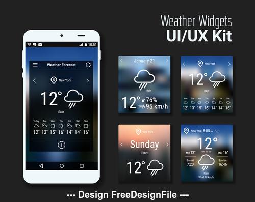 Weather widgets kit vector