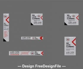 Web banner set with geometric elements vector