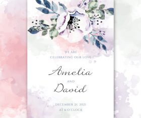 Wedding decorative flowers invitation watercolor vector