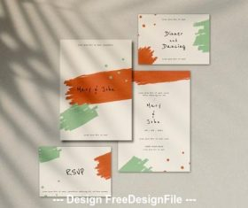 Wedding invitation and rsvp card vector