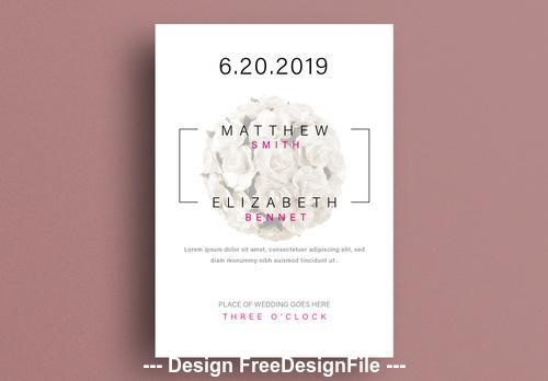 Wedding invitation layout with floral element vector