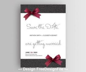 Wedding invitation layout with red bows vector