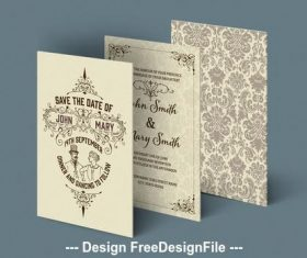 Wedding invitation set with ornamental patterns vector