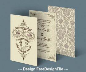 Wedding invitation set with ornamental patterns vector