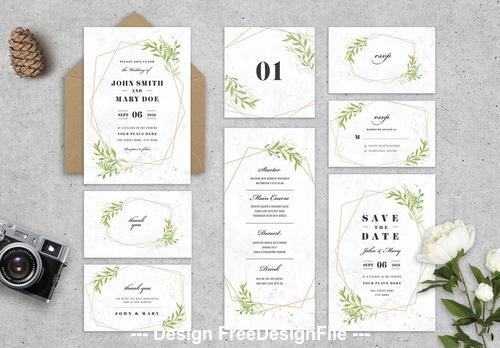 Wedding stationery with leaves and geometric shapes vector