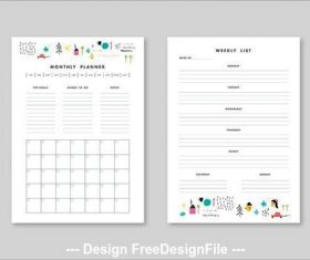 Weekly and monthly planner elements vector