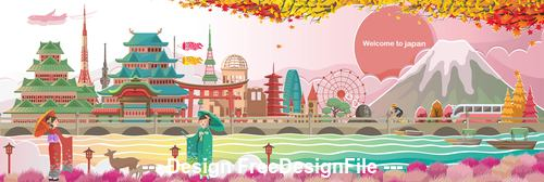 Welcome to japan illustration vector