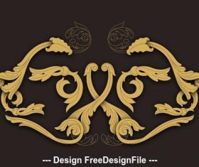 Western carving elements icon vector