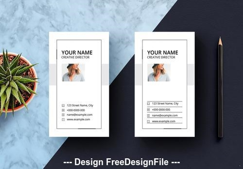 White vertical business card vector