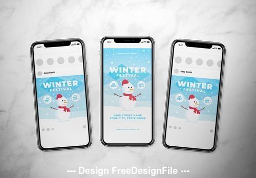 Winter festival social media vector