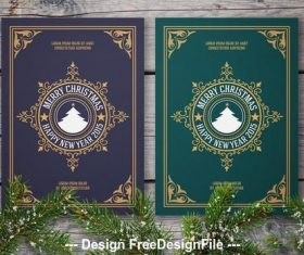 Winter greeting card layout set with filigree vector