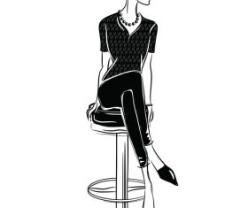 Woman vector sitting on a high stool