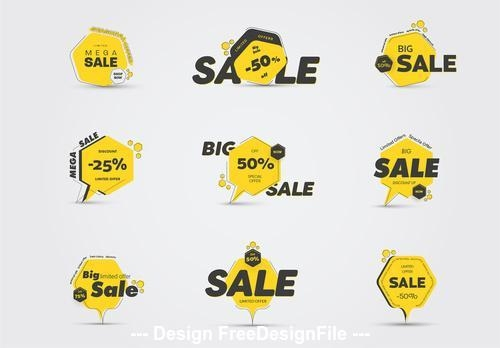 Yellow and black sale icons vector