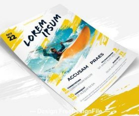 Yellow flyer with brush vector