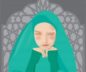 beautiful muslimah girl vector