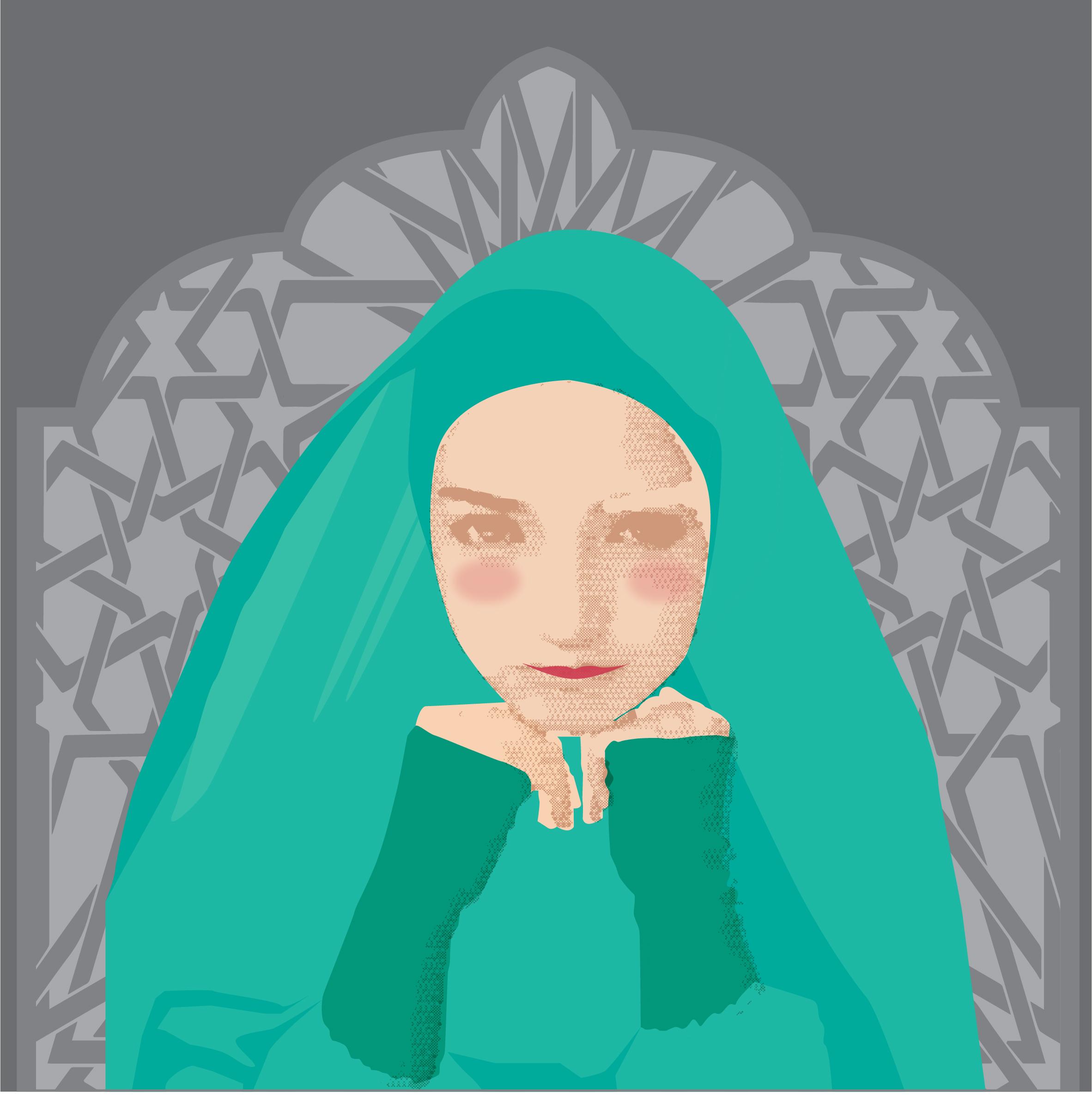 beautiful muslimah girl vector