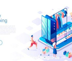 flat concept online mall vector