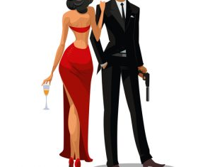 007 cartoon illustration vector