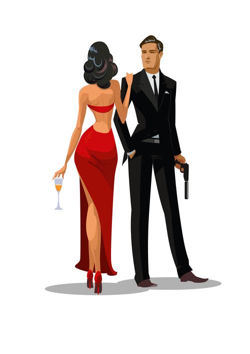 007 cartoon illustration vector