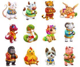 12 zodiacal animals icon vector