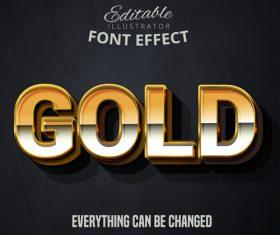 3d gold font text effect vector