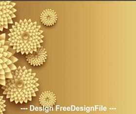 3d golden flowers decoration design vector