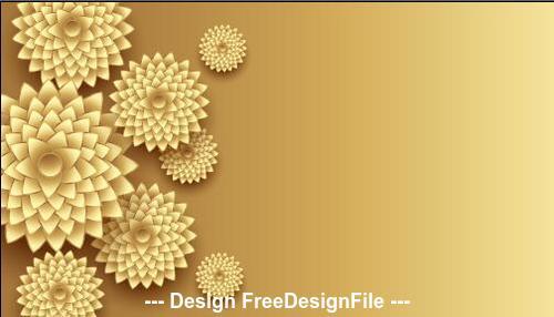 3d golden flowers decoration design vector