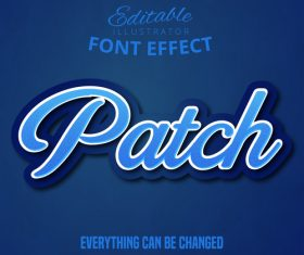 3d patch font text effect vector