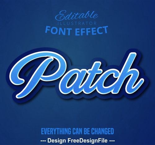 3d patch font text effect vector