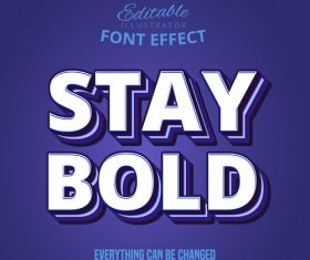 3d stay bold font text effect vector