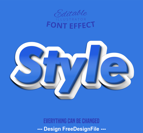 3d style font text effect vector