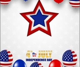 4th july happy independence day usa design with balloons vector