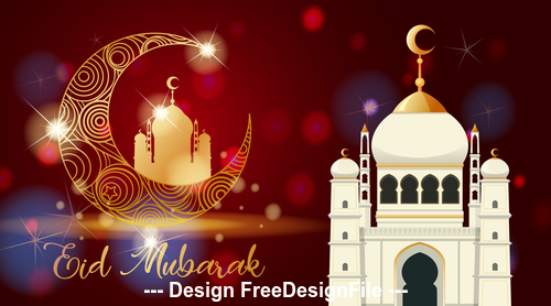 Abstract background eid mubarak card vector