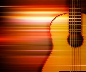 Abstract red blur music background with acoustic guitar vector