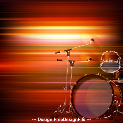 Abstract red blur music background with drum kit vector