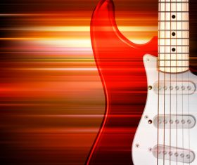 Abstract red blur music background with electric guitar vector