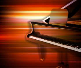 Abstract red blur music background with grand piano vector