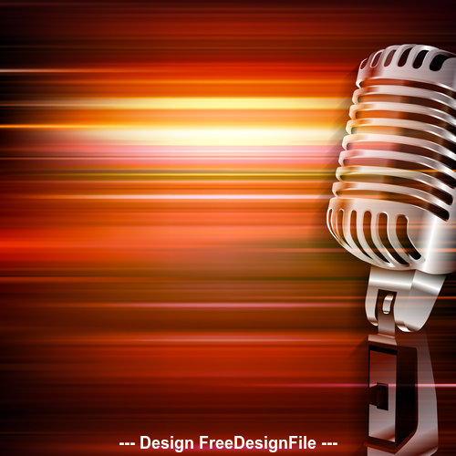 Abstract red blur music background with retro microphone vector