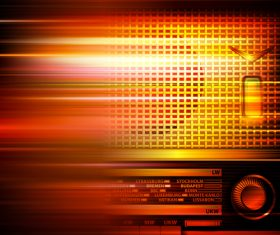 Abstract red blur music background with retro radio vector