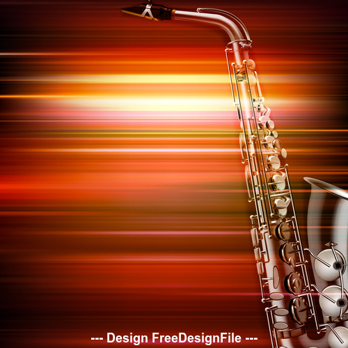Abstract red blur music background with saxophone vector