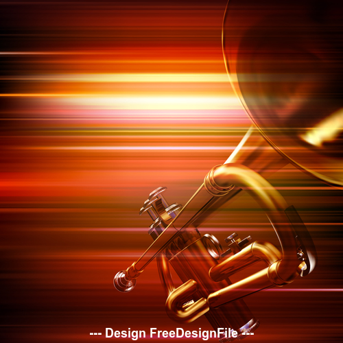 Abstract red blur music background with trumpet vector