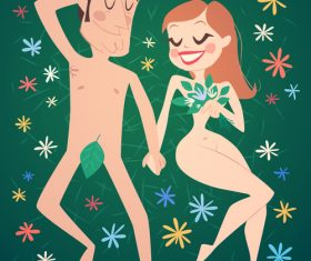 Adam and eve cartoon illustration vector