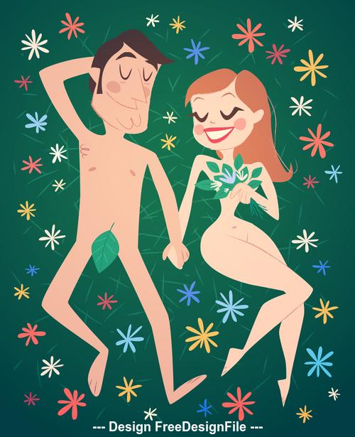 Adam and eve cartoon illustration vector