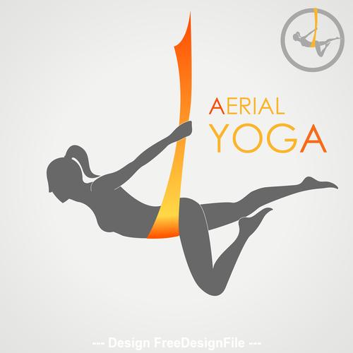 Aerial yoga presentation logo vector
