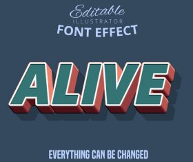 Alive 3d font effect editable text vector
