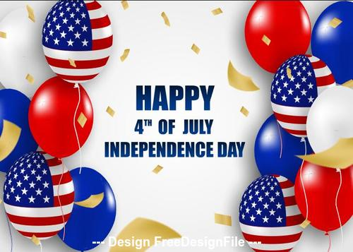 American independence day design with balloons vector