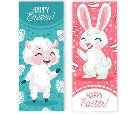 Animal banner easter greeting card vector